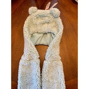 Animal Ears Hooded Sherpa Scarf Mittens